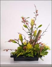 classic ikebana with lilies delivered to the Tamalpais, Greenbrae, and throughout Marin County.
