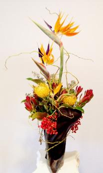Bird of Paradise Arrangement, pincushion,ti leaves