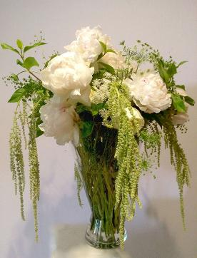 white peonies with amaranthus